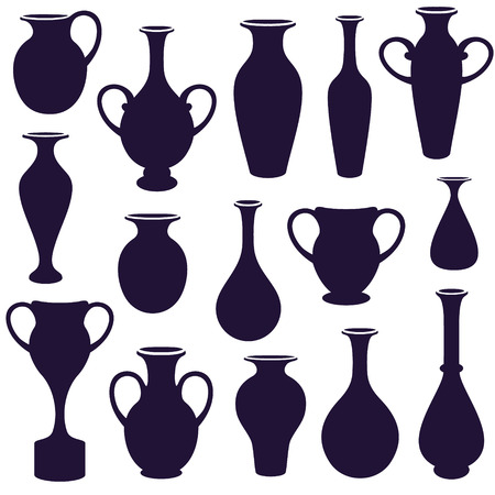 water jug: vector  set of  vases silhouettes