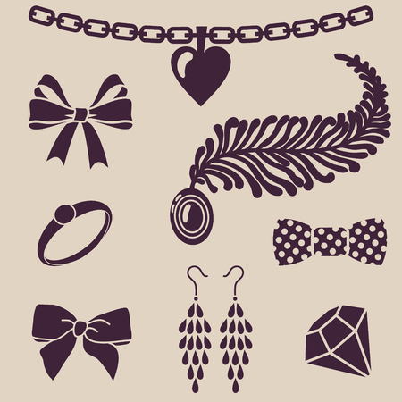 diamond necklace: vector silhouettes of womens accessories Illustration