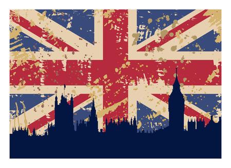 bandera de gran bretaña: ilustración vectorial de la bandera de Londres y la silueta de la Gran Bretaña
