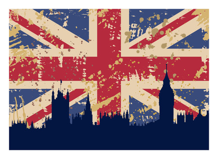 houses of parliament london: vector illustration of Great Britains Flag and London silhouette