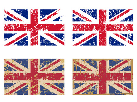 vector set of Great Britains Flag in grunge style Illustration