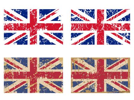 vector set van de Vlag van Groot-Brittannië in grunge stijl Stock Illustratie