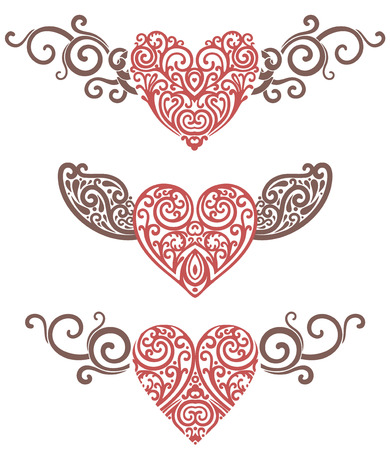 vector illustration of hearts and wings