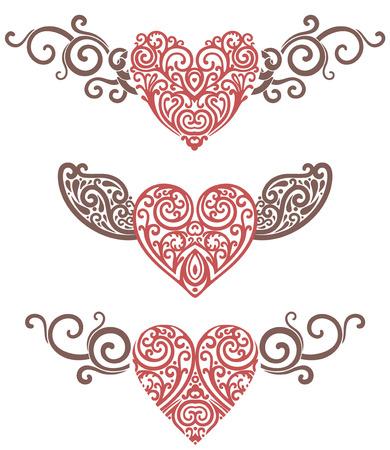 vector illustratie van de harten en vleugels