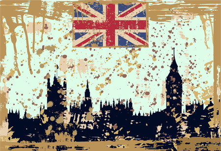 houses of parliament london: vector illustration of  London silhouette in grunge style