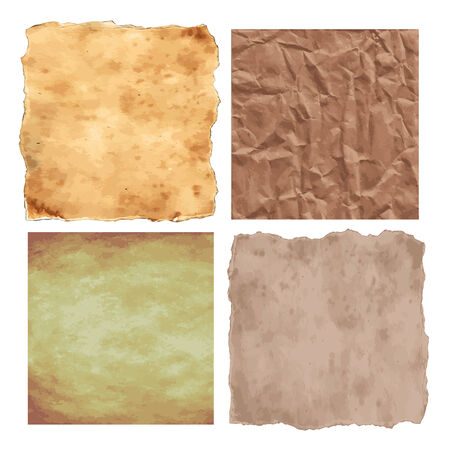 old papers: vector grunge set with 4 textures of old papers