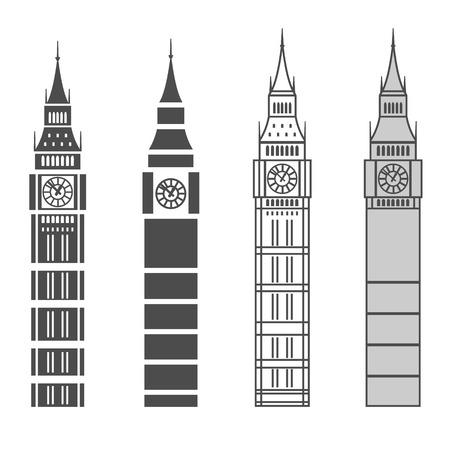 big ben london: vector line graphic big ben set