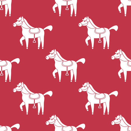 vector abstract seamless red pattern with horses silhouettes Vector