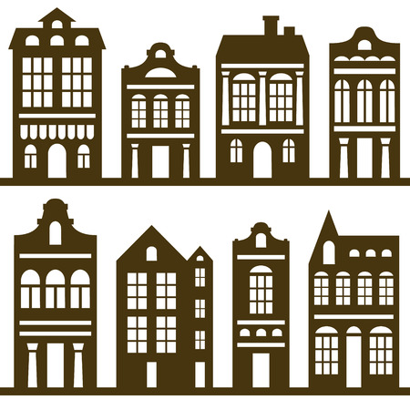 vector houses silhouette set Vector