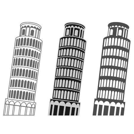 vector Scheve Toren van Pisa set