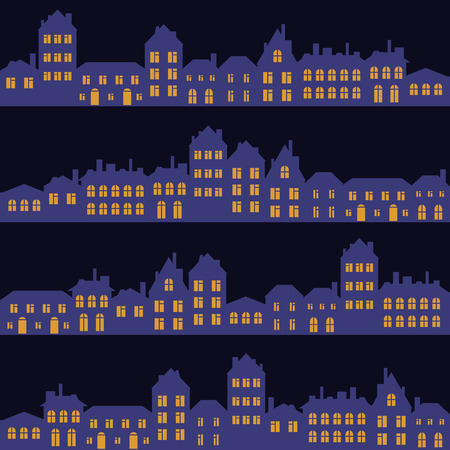 suburb: vector seamless pattern with houses