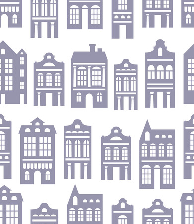 vector seamless pattern with various silhouettes of  European houses Vector