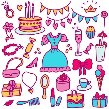 baby girl cartoon: vector princess birthday set Illustration