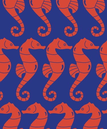 vector abstract seamless decorative ocean pattern with sea horses in blue and red Vector