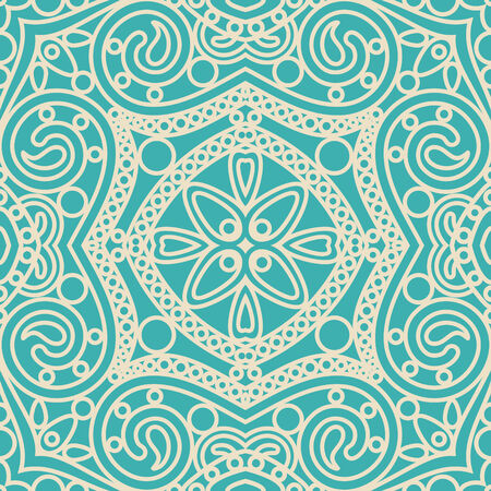 vector seamless abstract orient floral lace mandala tile pattern on blue background