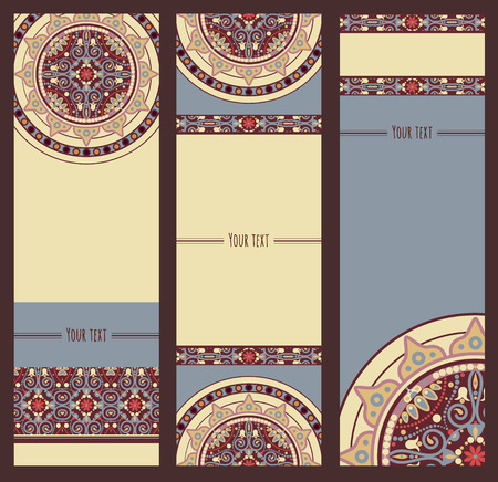 tibet: vector ornate traditional mandala card Illustration