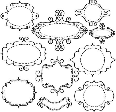 decorative border: vector frames sketch in scrapbooking style