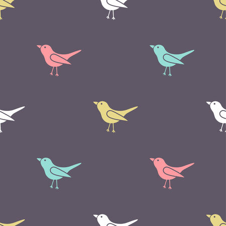 vector seamless tile pattern with birds silhouettes Vector