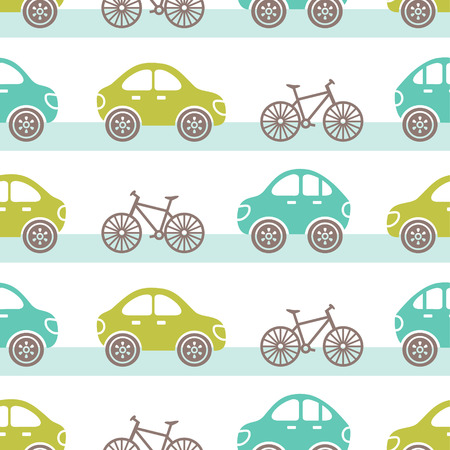 vector seamless tile pattern with cars and bicycles on a road Vector