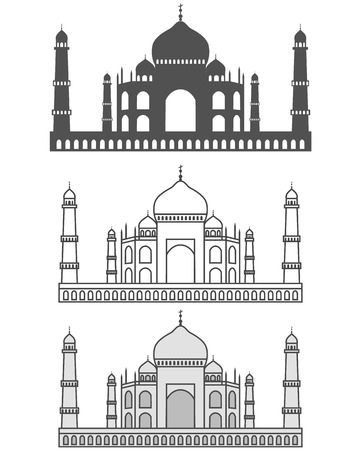 mausoleum: vector illustration of silhouette Taj Mahal