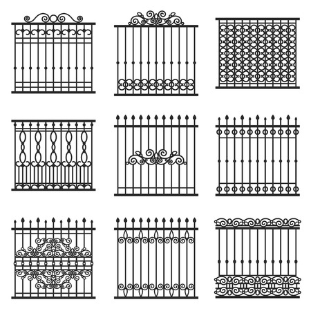 iron gate: vector decorative fences set Illustration