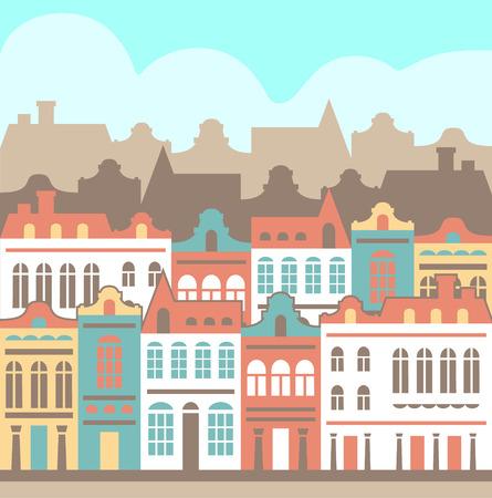 little town: vector European town landskape Illustration