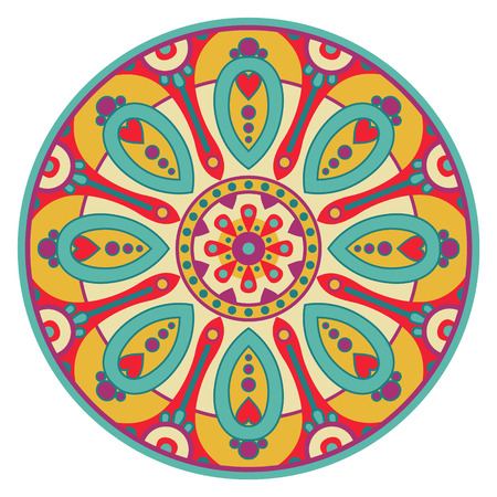 vector illustration of traditional indian orient element-colored ornamental mandala Vector