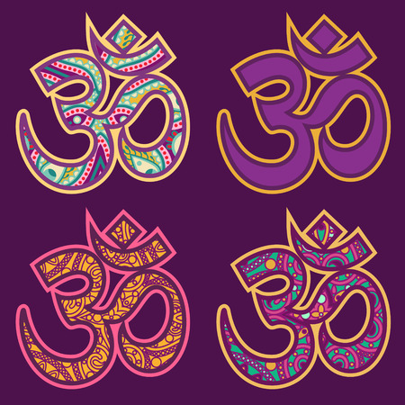 vector set of traditional ornamental orient ohm sign Vector