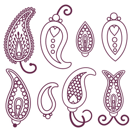 iranian: vector line stroke traditional indian paisley elements set