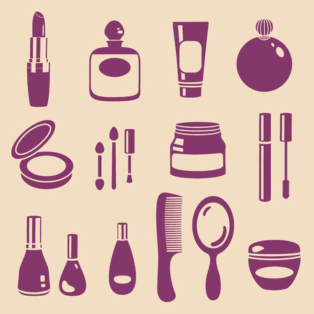 vector various cosmetics and make-up silhouette set Illustration