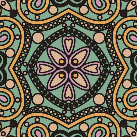 vector seamless abstract orient floral lace mandala tile pattern in art deco style Illustration