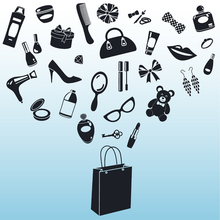retail shop: vector illustration of feminine icons with the shopping bag