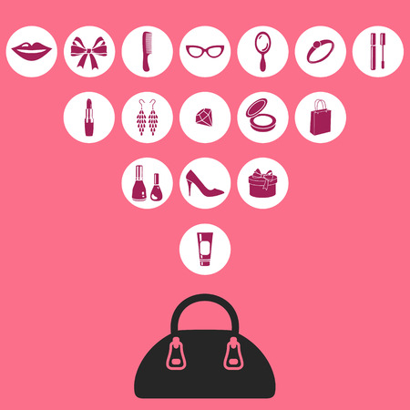 vector illustration of feminine icons with the bag Illustration