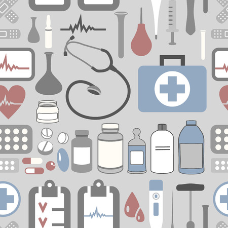 vector seamless  pattern with medical objects Vector