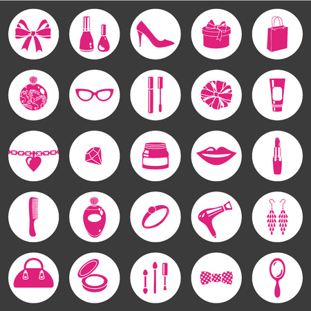 vector cosmetics and female accessories icon Illustration