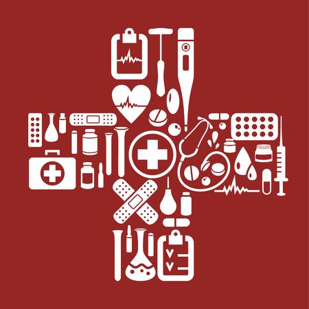cruz roja: cruz medicina vector hecha de objetos médicos