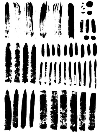 vector set of various black brush strokes