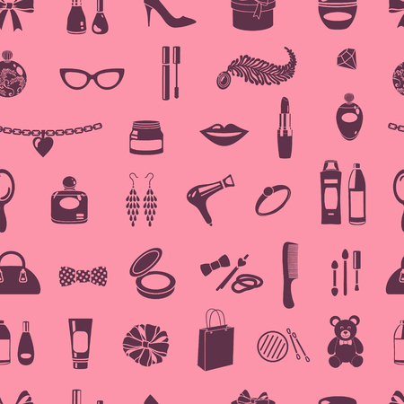 vector seamless  pattern with feminine icons