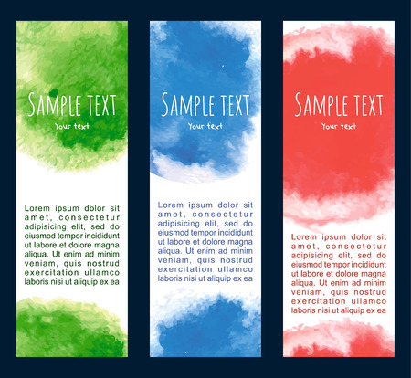 Vector background .Set of  watercolor banners, abstract headers with blots