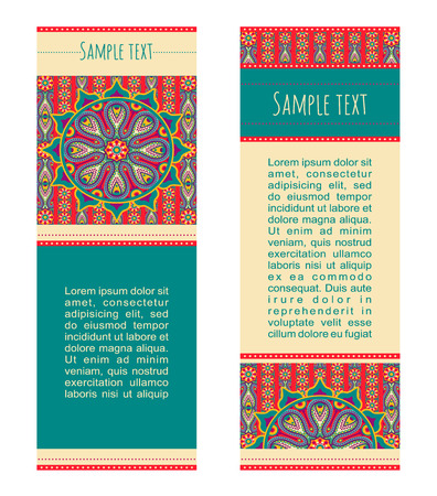 Vector abstract colourful background. Set of ornamental banners with traditional orient mandala. Cards tamplate with aztec sun symbol.