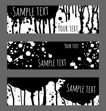 Vector black and white background. Banners set for message. Brush strokes, blobs and splashes design headers. Illustration