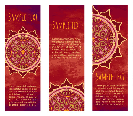 Vector vintage abstract colourful background. Set of old ornamental banners with traditional orient mandala. Cards with aztec sun symbol