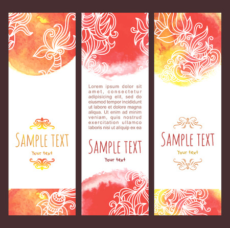 Vector background .Set of  watercolor banners, abstract headers with blots and doodle flowers. In yellow, orange and red colors Illustration