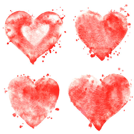 Vector watercolor symbols-hearts. Valentine`s day background. Set of hand draw design elements.