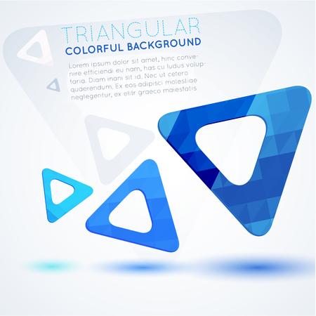 Blue triangles on white, abstract background Illusztráció