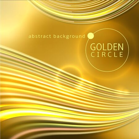 Golden circle abstract background with waves of light