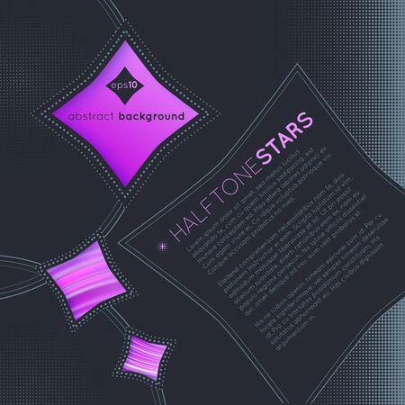 Halftone stars on dark abstract background