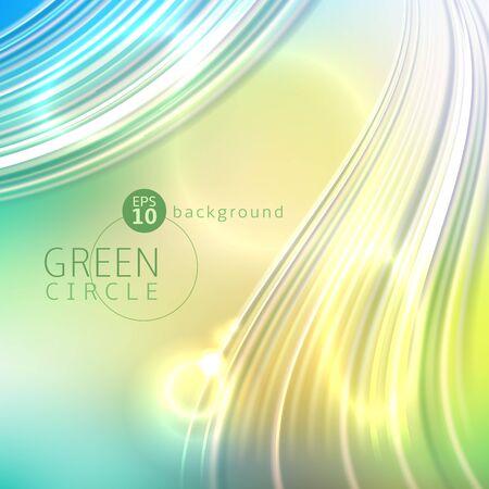 Green circle abstract background with light waves Illusztráció