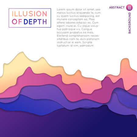 Ilusion of depth wavy pattern background,  wave or mountains abstract shapes with drop shadows