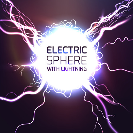 Elecktric sphere light effect background with lightning bolts